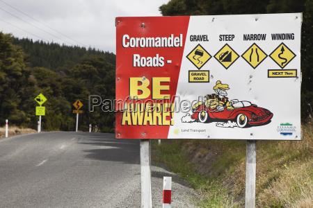 new zealand coromandel peninsula attention sign