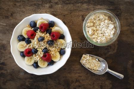 bowl of muesli with banana slices