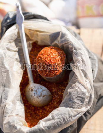 bhutan powdered chili with spoon close