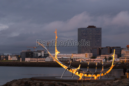 island reykjavik modern sculpture formed like