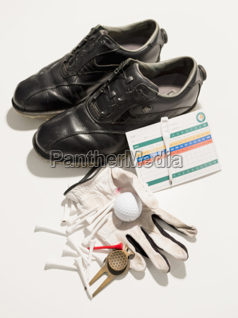 golf equipment on white background