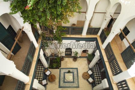 morocco marrakech interior of historic riad