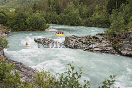 norway people rafting on river jostedalselva