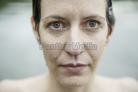 wet face of a woman