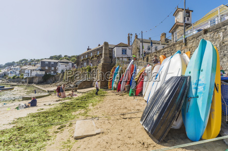 uk cornwall mousehole surfboards at pier