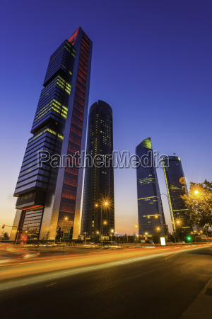 spain madrid cuatro torres futuristic neon