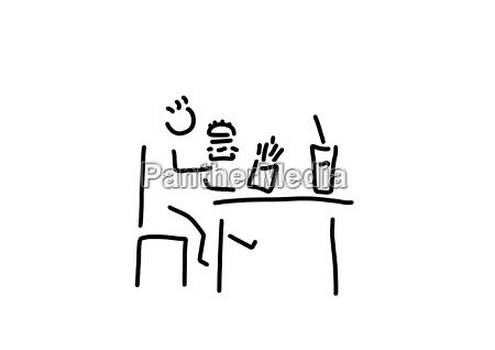 fast food child sitting on table