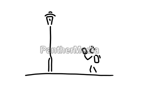 pupil with smartphone street light line