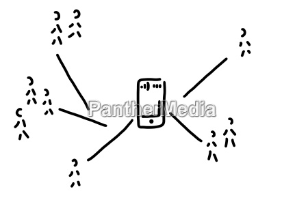 social network with smartphone line drawing