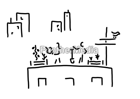 urban gardening line drawing black and