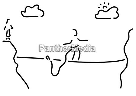 black white illustration tightrope walking