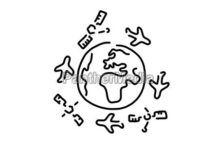 flying around the world airplanes satellites