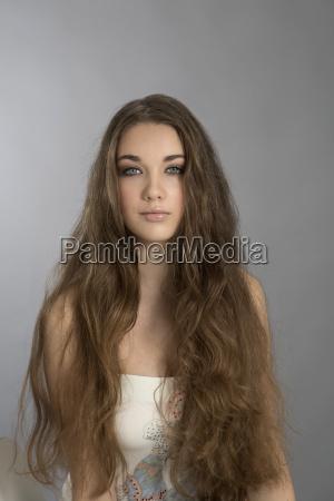 portrait of teenage girl with long
