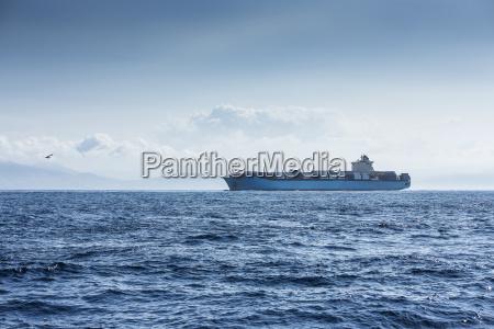 morocco tangier cargo ship on mediterranean