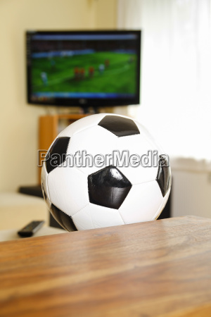 living room with tv and soccer