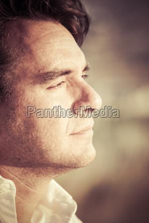 portrait of pensive man close up
