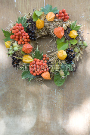 autumnal decoration wreath with rowanberry chinese
