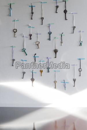 old keys used as advent calendar