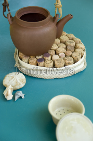 tea pot on self made cork