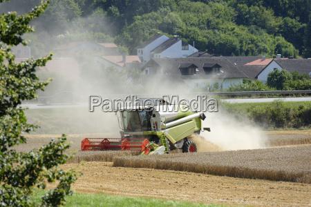 germany upper bavaria combine harvester in