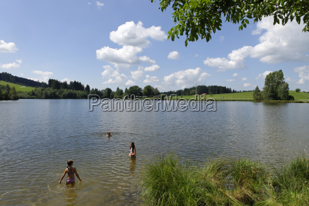 germany bavaria swabia children swimming at