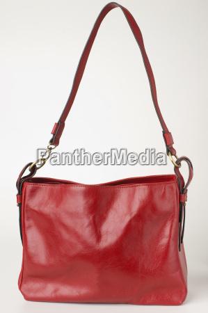 red ladys bag close up