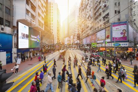 china hong kong people crossing road