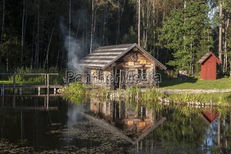 estonia wooden smoke sauna in sokka