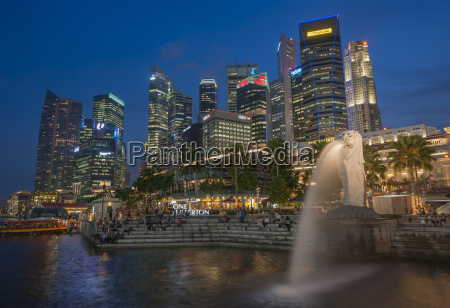 singapore skyline with financial district and