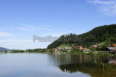 germany bavaria view of lake hopfensee