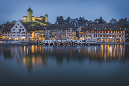 switzerland schaffhausen evening at river rhine