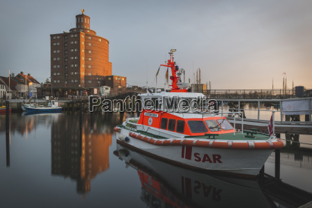 germany eckernfoerde harbour life boat and