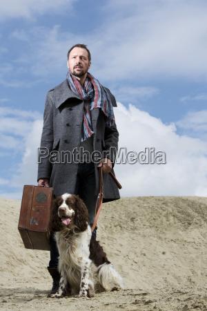 germany bavaria mature man with dog