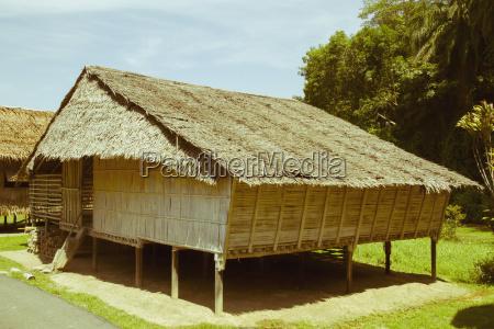 malaysia borneo traditional bamboo house at