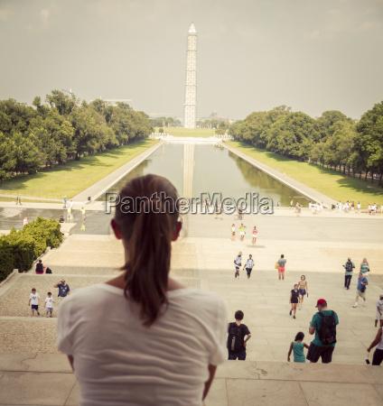 usa washington dc female tourist sitting