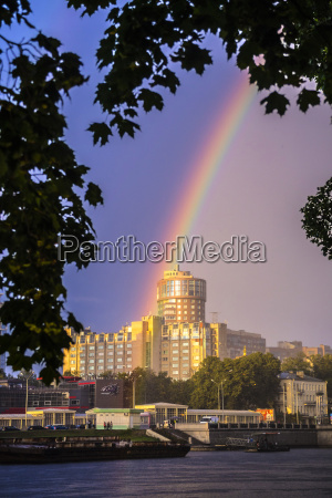 russia saint petersburg rainbow over building