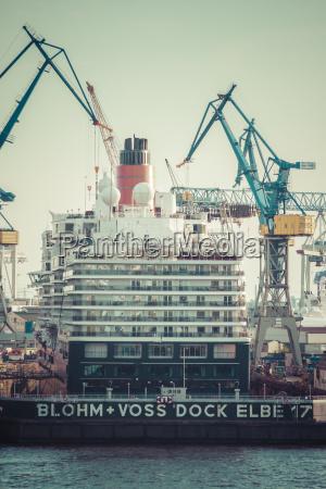 germany hamburg cruise liner queen elisabeth