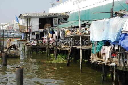 thailand bangkok poor housing at chao