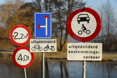 netherlands view of traffic signs between