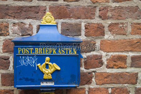 germany bremen historical letterbox at brick