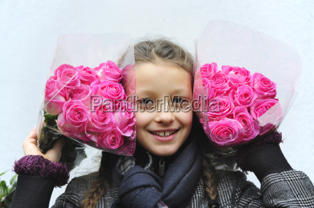 netherlands portrait of girl holding bunch