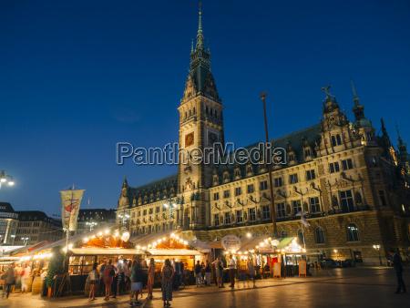 germany hamburg townhall market at night
