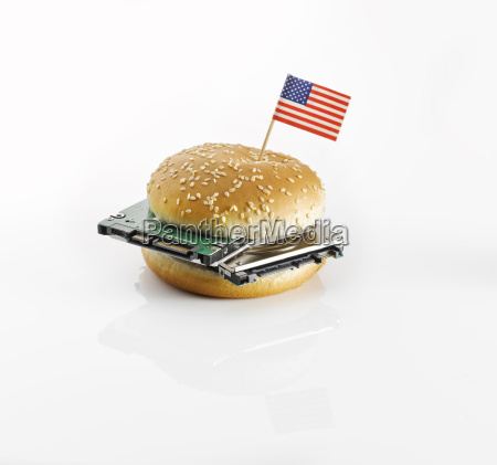 burger with american flag and harddrives