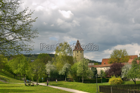 germany bavaria berching city wall with