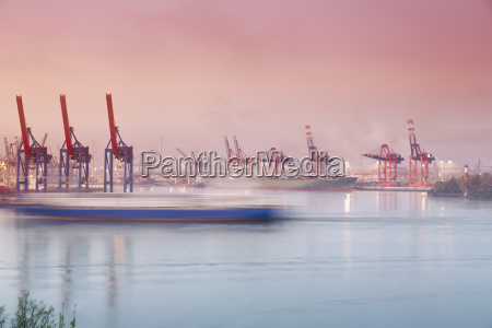 germany hamburg container harbour at elbchaussee