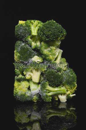 deep frozen broccoli close up