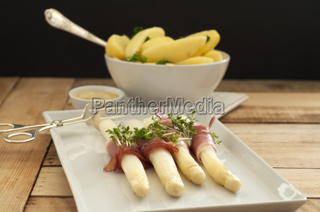 bowl of potatoes with asparagus on