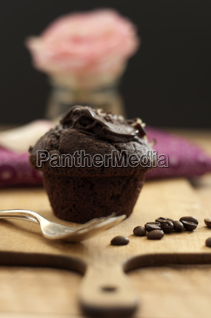muffin with roasted coffee bean on