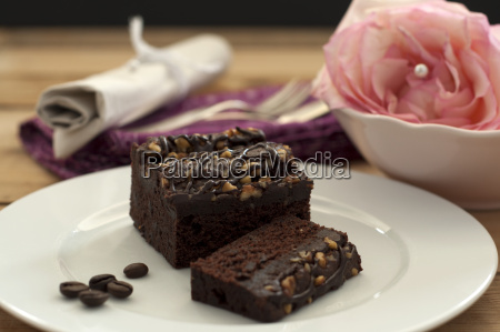 brownie with roasted coffee bean on