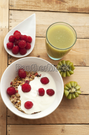 bowl of muesli with raspberries and
